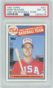 Mark-McGwire-1985-Topps-401-RC-Rookie-Athletics-PSA-8-NM-MT-CENTERED