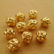 30pcs 6mm Premium 14k Gold Plated Filigree Hollow Round Beads Spacers