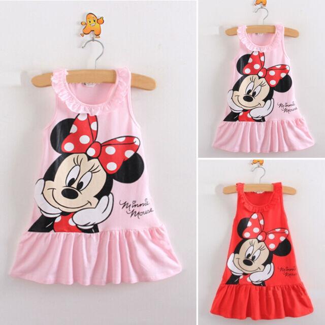 Kids Baby Girls T-shirt Dress Minnie Mouse Sundress Ruffle Sleeveless Dresses