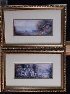 Mark-St-John-Pair-of-Water-Color-Prints-Framed-pier-harbor-resort