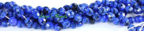25 Blue W// Black Swirl Czech Firepolish Round Beads 8mm