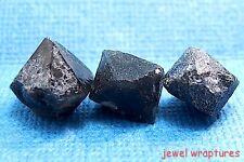 "Three Black Pseudo ""Beta"" Quartz Cumberland Habit Crystals From Italy"