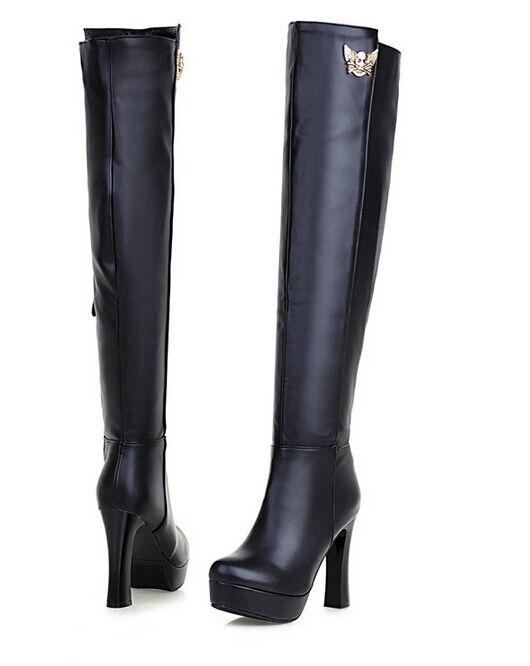 Zapatos especiales con descuento stivali coscia invernali comodi donna tacco spillo 14 cm nero  simil pelle 8803