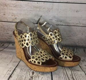 857d8ca8d2b23a Tory Burch Daisy Wedge Sandals Gold Patent Leather Nori Laser Cut ...