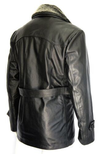 Classic German U Boat Military Style Fur Collar Black Real Hide Leather Jacket