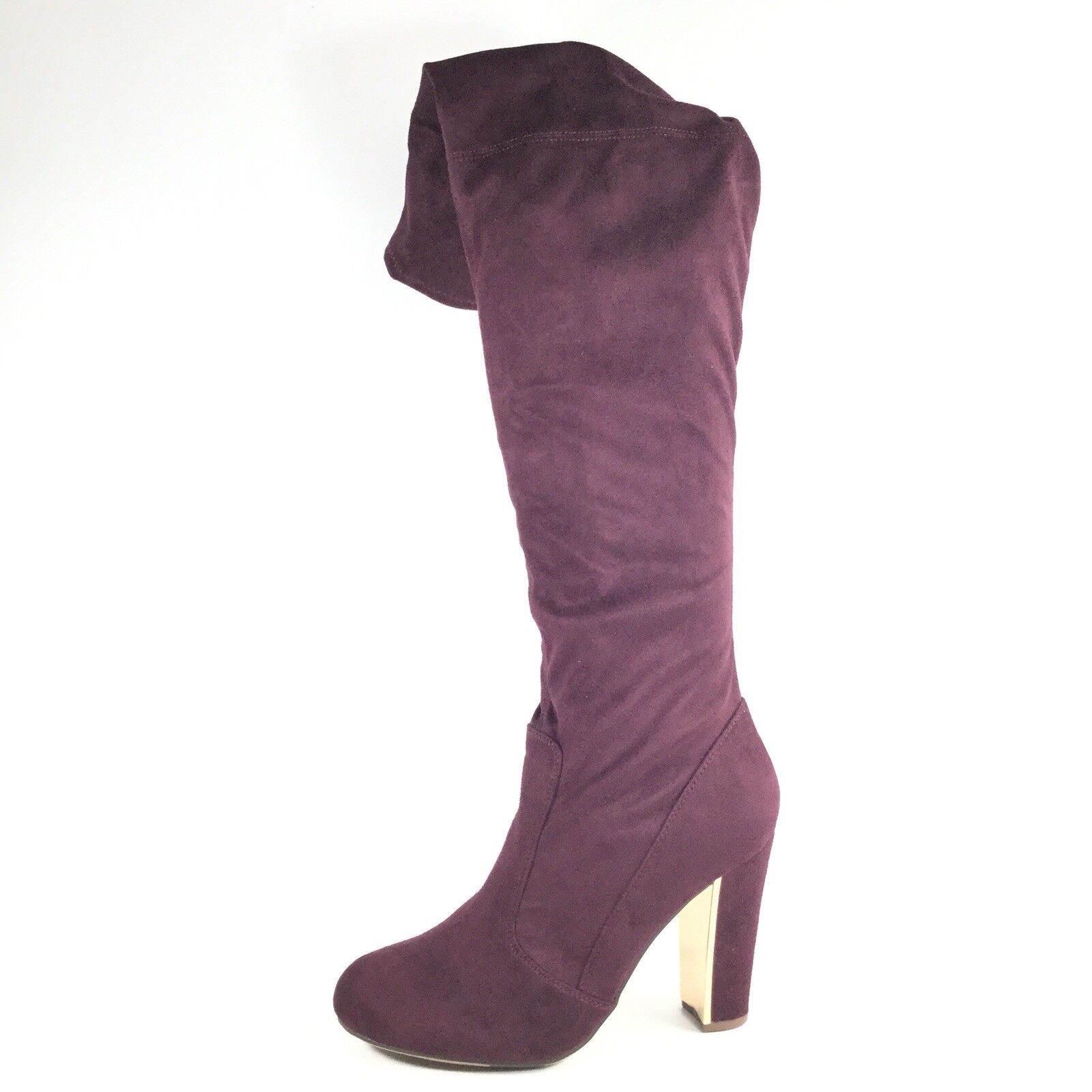 Material Girl Priyanka Womens Size 9.5 M Wine Heel Over The Knee Boots.