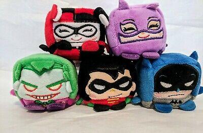 "WW SUPERMAN FLASH KAWAII CUBES DC COMICS LOT OF 5 PLUSH 2.5/"" BATMAN HARLEY"