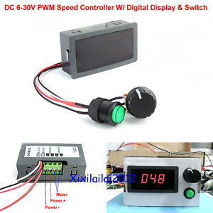 Dc 6 30v 12v 24v max 8a pwm motor speed controller with for Digital dc motor speed control