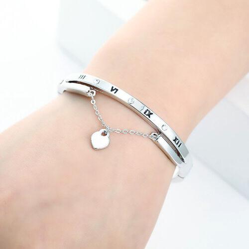 EY/_ Women Roman Numerals Craved Heart Pendant Chain Bracelet Charm Bangle Charm