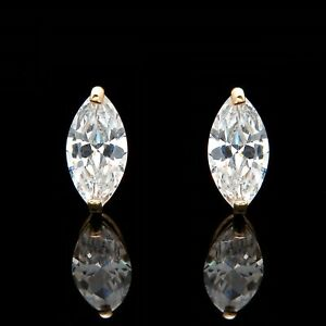 1-00ct-Marquise-Cut-Solitaire-Earrings-Studs-Real-14K-Yellow-Gold-Heavy-Basket
