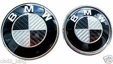 2pcs 82+74mm BMW Carbon Black White emblem set hood trunk e46 e60 e61 e90 e91 2x