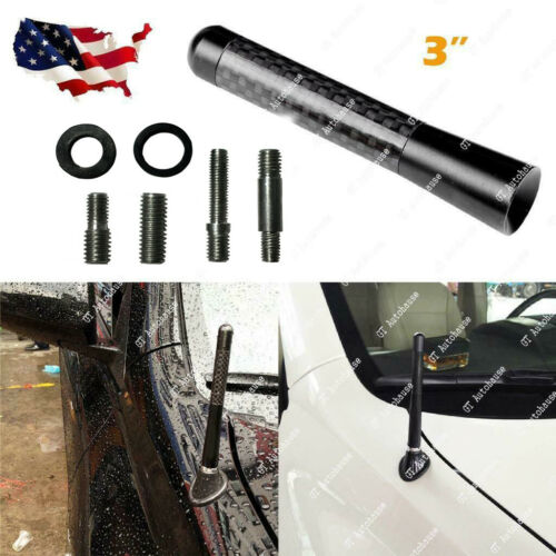 "3/"" Universal Fit Carbon Fiber Short Screw-in Car Auto AM//FM Antenna Aerial Mast"