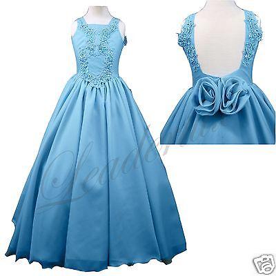 Blue Girl Pageant Wedding Dance Party Prom Recital Formal Dress sz:3 4 5 6 8-14