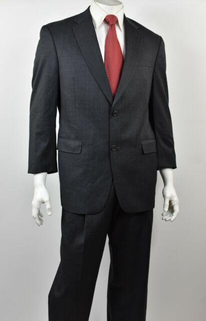 192ad9b88cbf HART SCHAFFNER MARX Charcoal Glen Plaid Wool 2-Btn Classic Fit Suit 42S