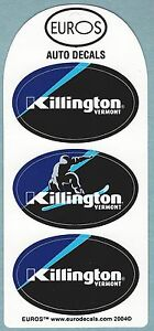 (3) KILLINGTON VERMONT SKI SNOWBOARD RESORT AREA HELMET STICKERS DECALS
