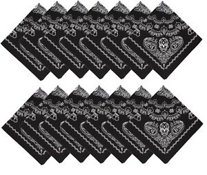 12pk-Black-Skull-22-034-Bandana-100-Cotton-Dia-De-Los-Muertos-Halloween-Face-Mask