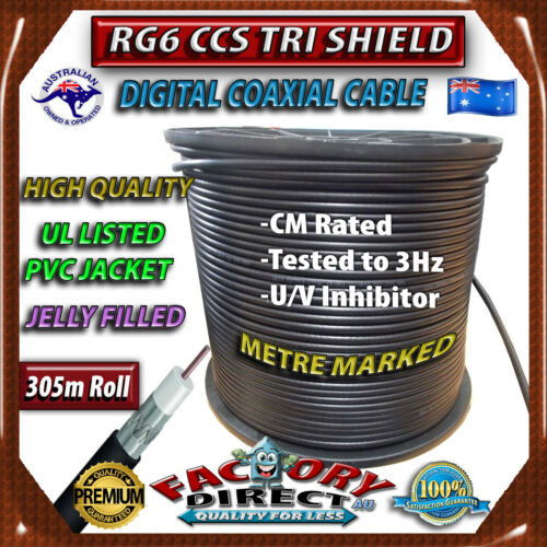 Coaxial Digital Cable Wire Jelly Filled 305m RG6 TRI SHIELD TV Antenna Coax