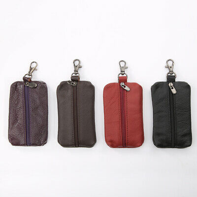 Unisex Genuine Leather Key Holder Case Keychains Pouch Bag Wallet Key Ring G HK