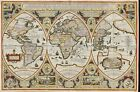 """Ancient World Map Geographica globi trientes CANVAS PRINT poster 16""""X12"""""""