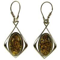 Baltic Amber Sterling Silver 925 Drop Dangling Hoops Earrings Jewellery Jewelry