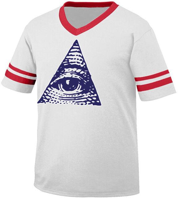 Don/'t Trust Anyone Pyramid Eye Government Money Theory Men/'s V-Neck Ringer Tee