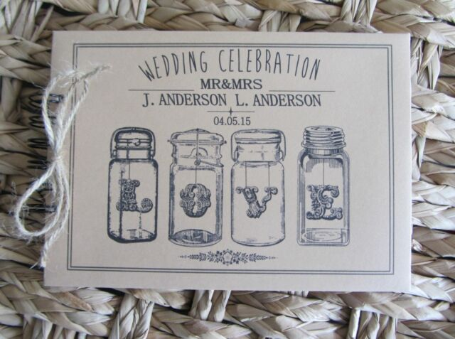 PERSONALISED VINTAGE -KRAFT BROWN -  JARS -  WEDDING /GUEST/SCRAPBOOK/PHOTO BOOK