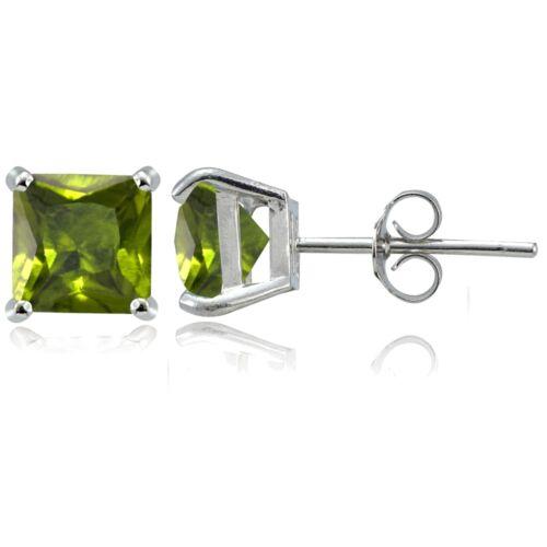 Sterling Silver Peridot 7mm Square Stud Earrings