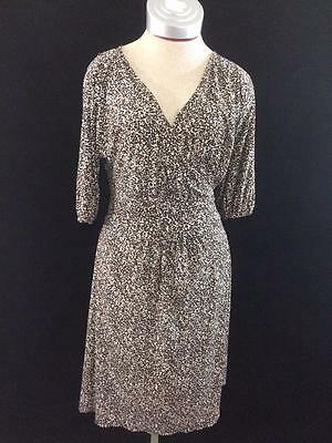 George Stretch dress womens size M medium 8 10 brown animal print wrap travel