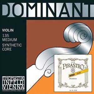 Thomastik Dominant GDA + Pirastro Gold Label E Violin String Set 4/4 Medium