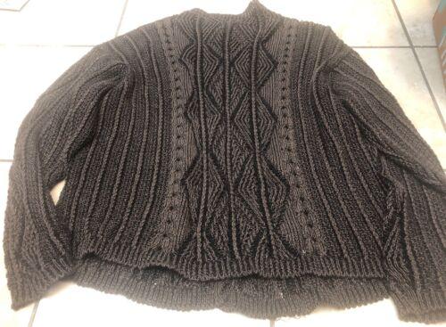 Inis Meain Wms Linen Brown Black Cardigan Handwove