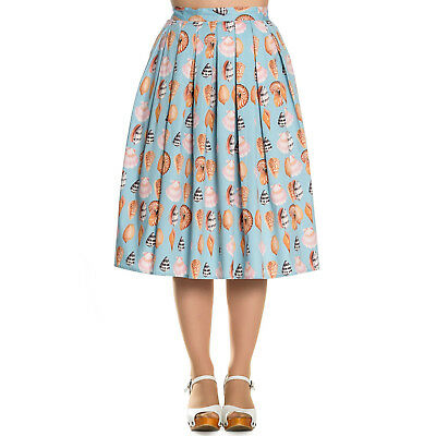Zielsetzung Hell Bunny Maya Bay Sea Shell Mermaid Blue Retro Vintage 1950s Flared Midi Skirt