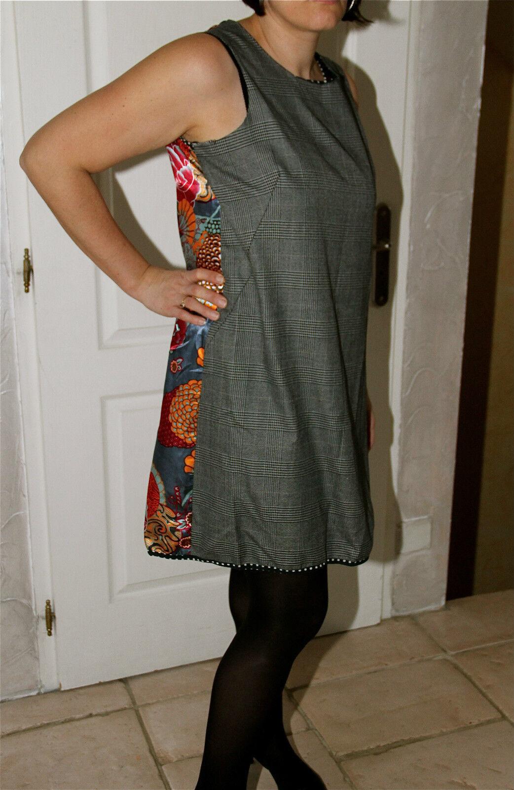 Exceptionnelle robe portefeuille soie coton à fleurs ZOÉ LA FÉE Größe L 40-42