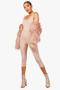 Boohoo Molly Ribbed Jumpsuit Nude Size Uk 12 Rrp £18 Dh094 Kk 19