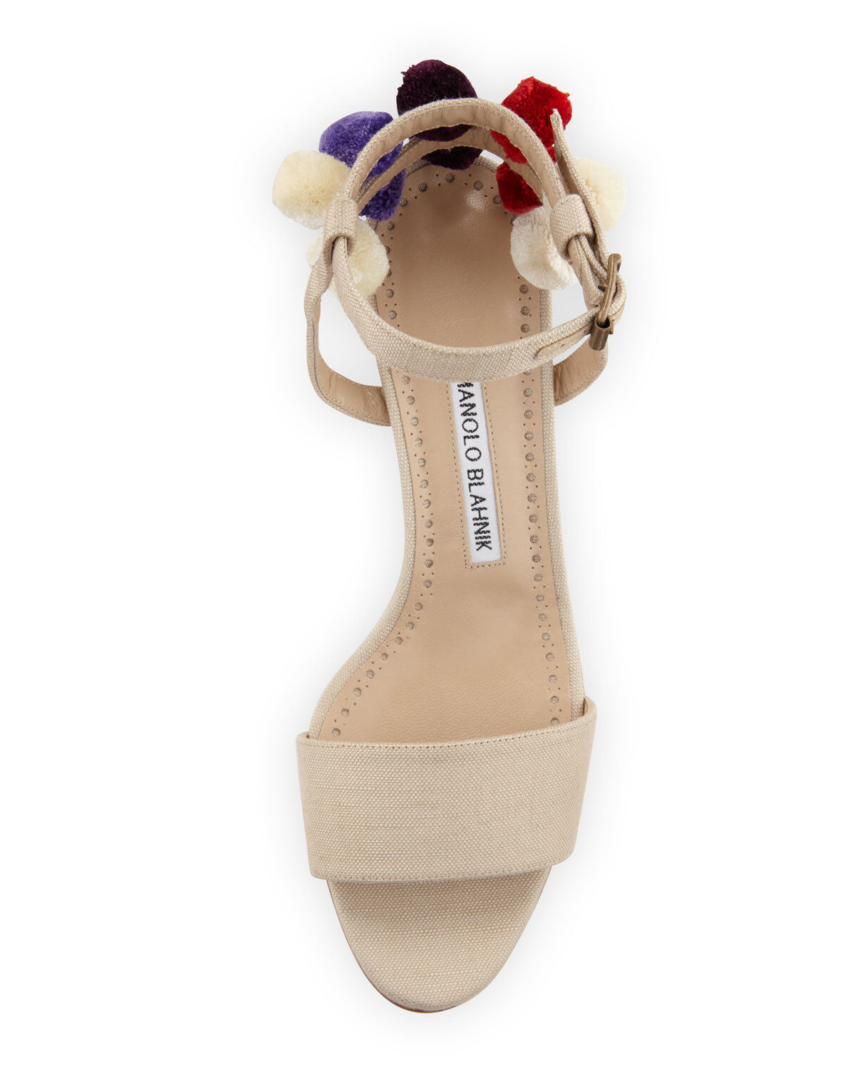 875 NEW Manolo Blahnik Pompom Canvas 50 Sandals Nude Nude Nude Beige Strappy chaussures 41.5 9118bf