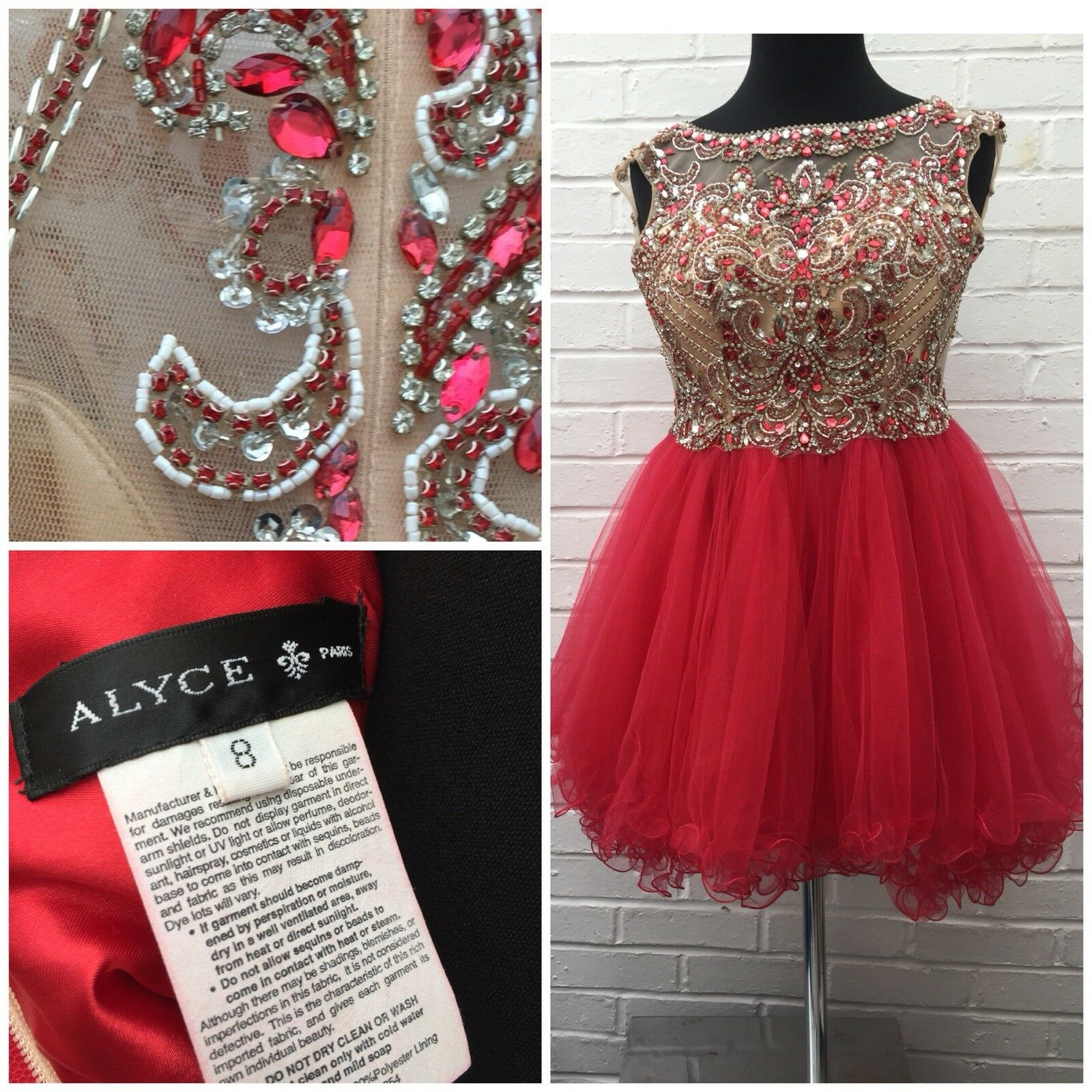 Alyce Paris Dress Short rot Diamanté Sheer Tutu Unique Prom Party Princess Sz 8
