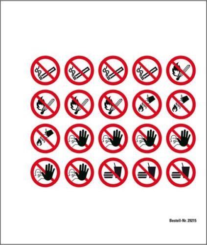 Ø 20mm 20//Bogen Minisymbol-Sammelbogen Verbotszeichen ASR//ISO Folie selbstkl