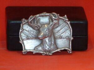 Pre-Owned-Silver-Tone-Deer-With-Antlers-Belt-Buckle