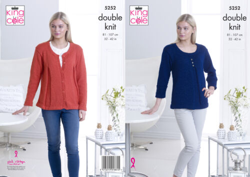 Womens Round Neck Top /& Cardigan Ladies Double Knitting Pattern King Cole 5252
