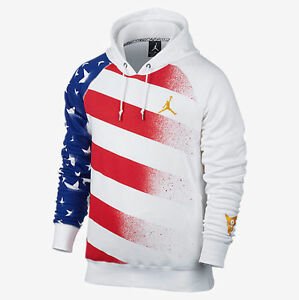 classic fit a1d4c 4859e Image is loading Nike-AIR-JORDAN-7-STARS-AND-STRIPES-HOODIE-
