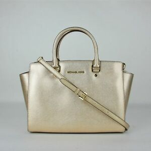 3a9be2360bea Image is loading Michael-Kors-Selma-Pale-Gold-Metallic-Leather-Large-