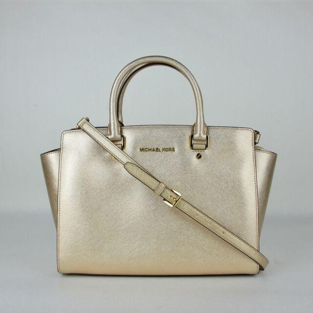 b2c90a440835 Michael Kors Selma Pale Gold Metallic Leather Large Satchel Bag 30H4MLMS3M