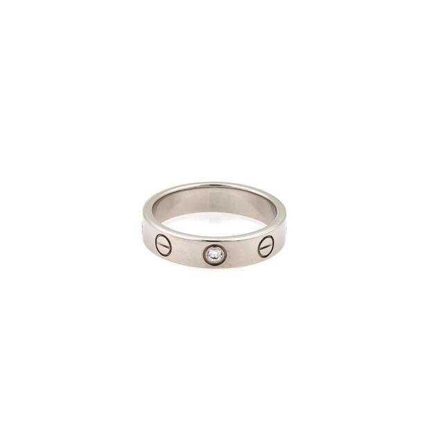 b34c6c48bfac Cartier Mini Love 1 Diamond 18k White Gold 4mm Band Ring Size 48-US 4.25