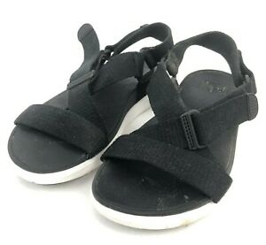 Fitflop-Womens-7-Black-Leather-Adjustable-Hook-Loop-Strap-Sport-Sandals-Comfort
