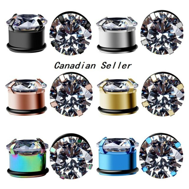 Pair Stainless Ear Plugs Crystal Flesh Tunnels Hollow Expander Piercing Jewelry