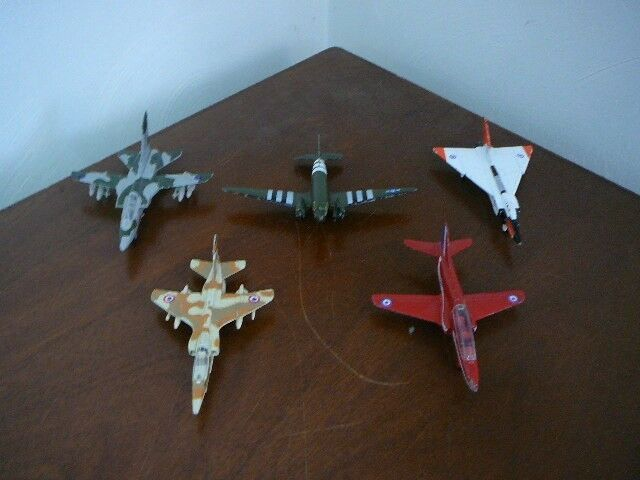 5 VintageToy Metal Diecast Military Airplanes Jets, Planes