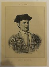 Tauromachie torero Juan Martin bull fight lithographie XIXème siècle