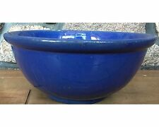 Size 11 Blue Medalta Rolled Rim Yellow Ware Pottery Mixing Bowl