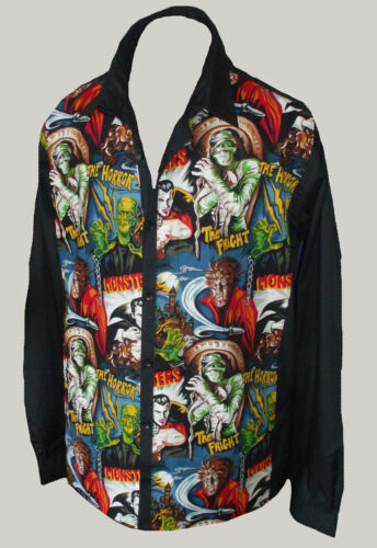 C-unique Mens Black Red or Grey Horror L//S shirt rockabilly 50s Psychobilly