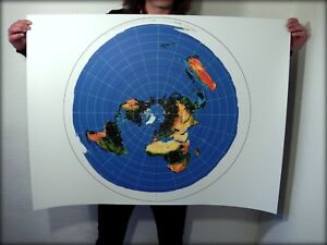 Flat Earth Poster Print   Azimuthal Equidistant Projection, USGS
