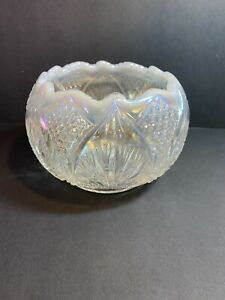 Fenton-Art-Glass-Iridized-French-Opalesence-Wheat-amp-Button-Rose-Bowl